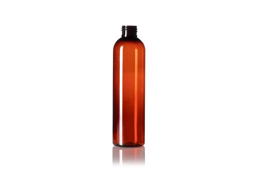 Amber PET Cosmo Round Bottle – 8 oz