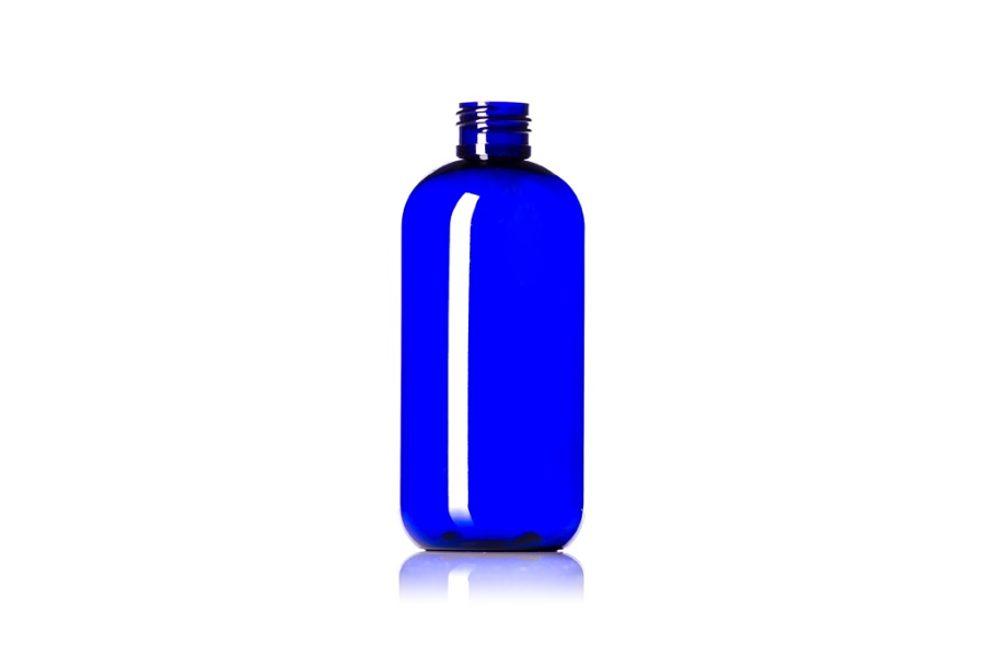 Cobalt Blue Boston Round PET Bottle – 8 oz