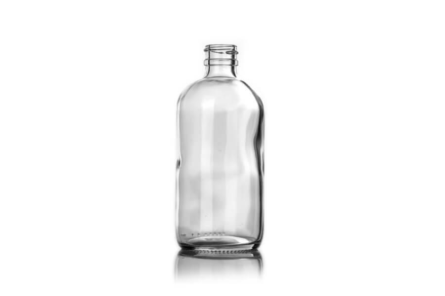 Clear Glass Boston Round Bottle – 8 oz