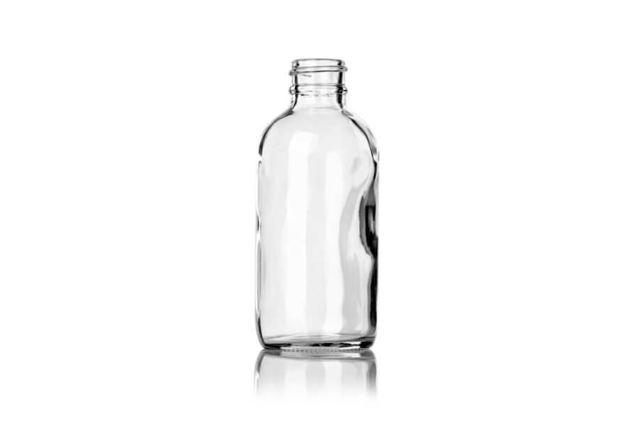 Clear Glass Boston Round Bottle – 4 oz – 24-400