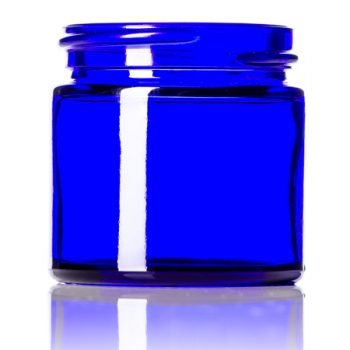 Cobalt Blue Round Glass Jars