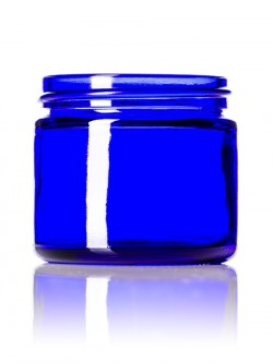 Cobalt Blue Round Glass Jar - 2 oz