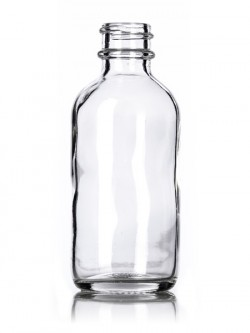 Clear Glass Boston Round Bottle - 2 oz