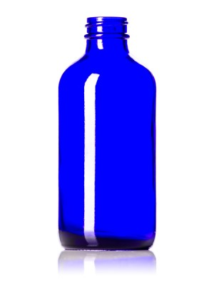 Cobalt Blue Glass Bottle - 8 oz - 28-400