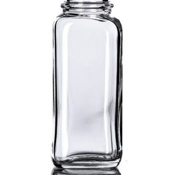 Clear French Square Glass Bottle - 4 oz