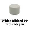 White Ribbed PP Lid w/ PE liner 20-410