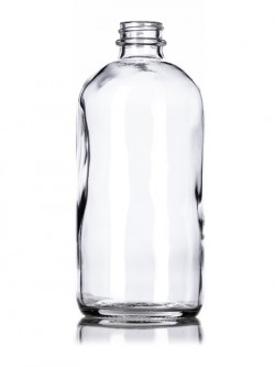 Clear Glass Boston Round Bottle - 16 oz