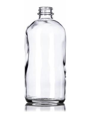 Clear Glass Boston Round Bottle - 16 oz