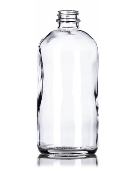 Clear Glass Boston Round Bottle – 16 oz