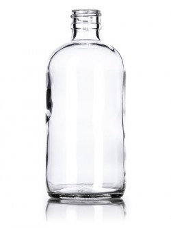 Clear Glass Boston Round Bottle - 8 oz