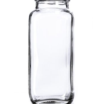 Clear French Square Glass Bottle - 8 oz