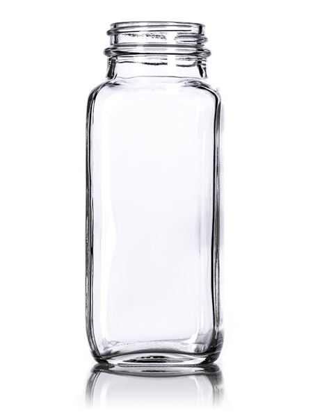 Clear French Square Glass Bottle – 8 oz