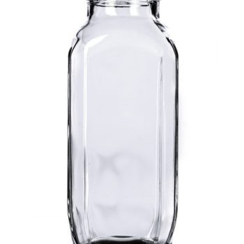 Clear French Square Glass Bottle - 16 oz