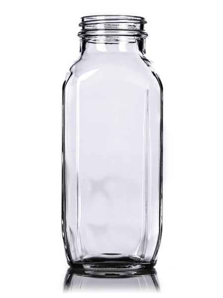 Clear French Square Glass Bottle – 16 oz