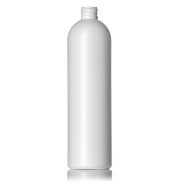 16 oz white HDPE imperial round bottle with 24-410 neck finish