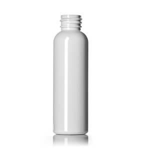 2 oz white PET cosmo round bottle with 20-410 neck finish