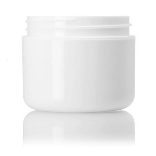 2 oz white PP double wall round base jar with 58-400 neck finish