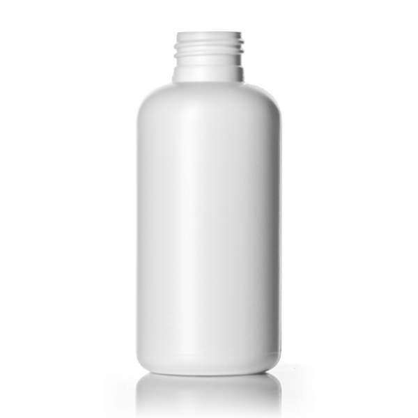 4 oz white HDPE boston round bottle with 24-410 neck finish