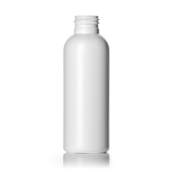 4 oz white HDPE royalty round bottle with 24-410 neck finish
