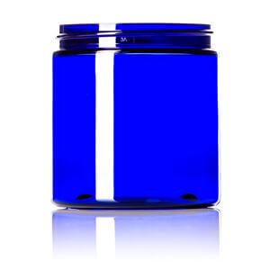 8 oz cobalt blue PET single wall jar with 70-400 neck finish